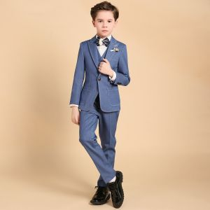 Luxe Océan Bleu Boys Wedding Suits Faux Diamant Cravate Bijoux De Corps 2018