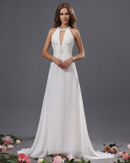 Fashion Ruffle Beaded Halter Sweep Sheath Bridal Gown Wedding Dress