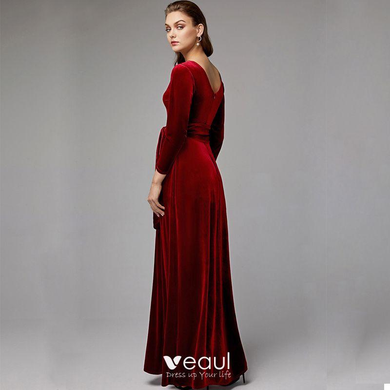 Luxus Herrlich Burgunderrot Brautmutterkleider 2020 Lange A Linie Lange Armel V Ausschnitt Ruckenfreies Hochzeit Abend Kleider
