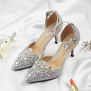 Glitter Zilveren Bruidsschoenen 2018 Glans Rhinestone Pailletten Gesp 9 cm Naaldhakken / Stiletto Spitse Neus Huwelijk Pumps