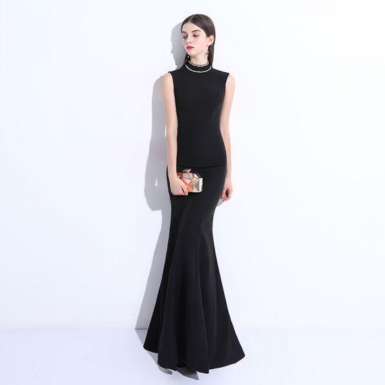 a978ab7de5 Proste   Simple Czarne Sukienki Wieczorowe 2018 Syrena   Rozkloszowane  Frezowanie Wycięciem Długie Sukienki Wizytowe