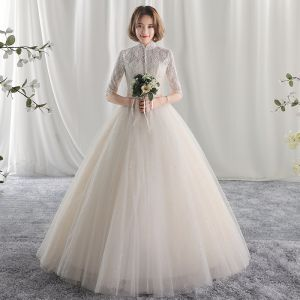 Chic / Beautiful Ball Gown Wedding Dresses 2017 Lace Flower High Neck Backless 1/2 Sleeves Floor-Length / Long Wedding