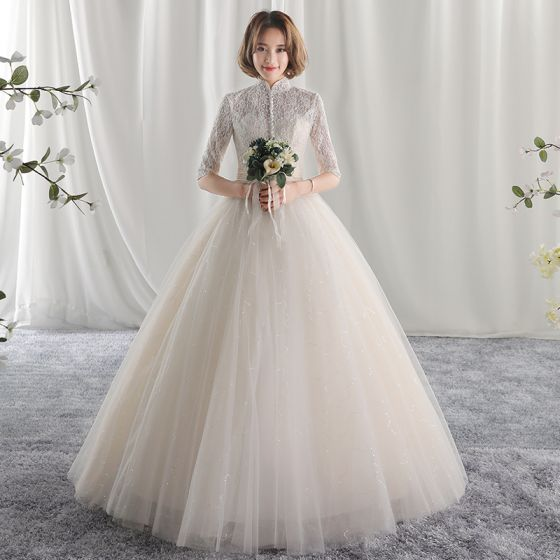 Chic Beautiful Ball Gown Wedding Dresses 2017 Lace Flower High Neck Backless 1 2 Sleeves