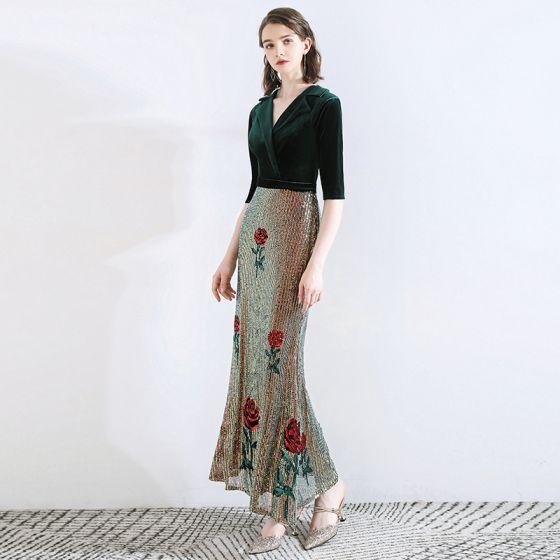 Classic Dark Green Evening Dresses  2020 Trumpet / Mermaid Suede V-Neck Sequins 1/2 Sleeves Ankle Length Formal Dresses