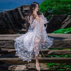 Illusion White Honeymoon Maxi Dresses 2019 A-Line / Princess V-Neck Appliques Long Sleeve Sweep Train Womens Clothing