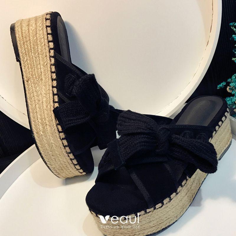 Elegant 2017 Outdoor / Garden Black Grey Summer Mid Heels Thick Heels Slipper 8 cm / 3 inch Open / Peep Toe Womens Sandals