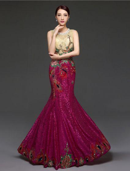 Vestidos De Noche Brillantes Lentejuelas Y Pedrería 2016 Rebordear Cuello Redondo Vestido De Noche Largo Del Estilo Chino
