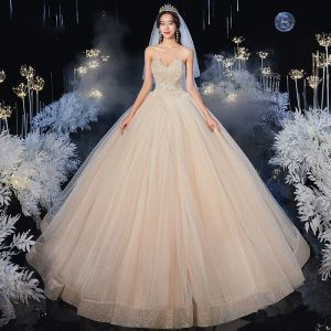 Best Champagne Bridal Wedding Dresses 2020 Ball Gown Sweetheart Sleeveless Backless Appliques Lace Beading Glitter Tulle Floor-Length / Long Ruffle