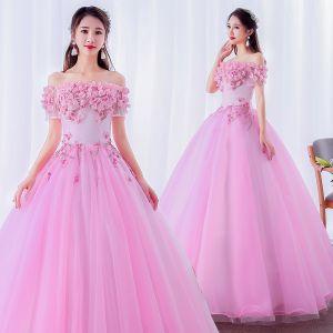 Elegante Pink Ballkleider 2019 Ballkleid Off Shoulder Perle Spitze Blumen Applikationen Kurze Ärmel Rückenfreies Lange Festliche Kleider