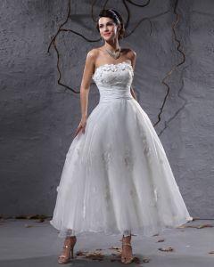 Elegant Taft Garn-wulstige Trägerlosen Knöchellang Kurzen Brautkleider Mini