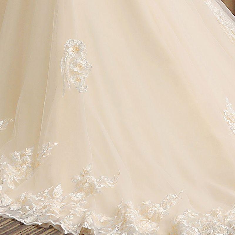 Eleganckie Szampan Przezroczyste Suknie Ślubne 2019 Syrena / Rozkloszowane Wycięciem Długie Rękawy Bez Pleców Aplikacje Z Koronki Rhinestone Frezowanie Trenem Sąd Wzburzyć