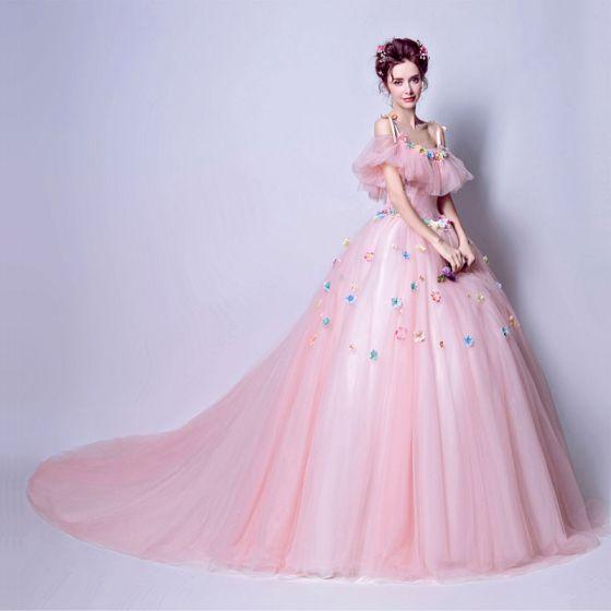 Hada de las flores Rosa Clara Largos Vestidos de gala 2018 Spaghetti Straps Tul Rebordear Apliques Sin Espalda Ball Gown Gala Vestidos Formales