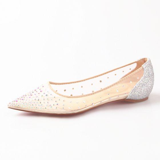 Hermoso Verano Plata Ropa de calle Rhinestone Planos Zapatos De Mujer 2020 Punta Estrecha