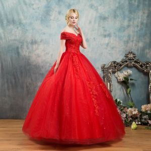 Elegant Red Wedding Dresses 2019 Ball Gown Off-The-Shoulder Beading Crystal Flower Lace Short Sleeve Backless Floor-Length / Long