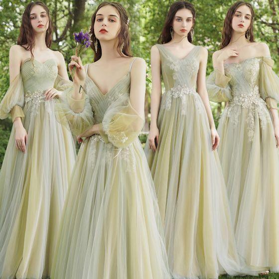 Flotte Salvie Grøn Perle Med Blonder Blomsten Brudepigekjoler 2021 Prinsesse Off-The-Shoulder Kort Ærme Halterneck Lange Brudepige Kjoler Til Bryllup