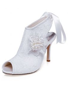 Prachtige Bruids Enkellaarzen Hoge Hakken Trouwschoenen Stiletto Hakken Peep Toe