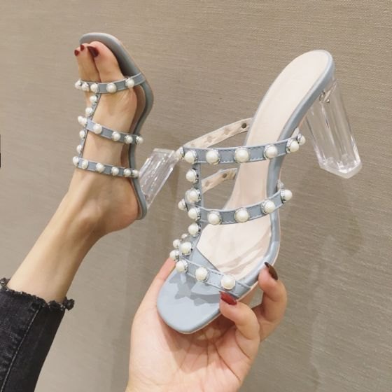 Charming Sky Blue Casual Pearl Womens Sandals 2020 9 cm Thick Heels Open / Peep Toe Sandals