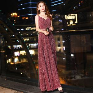 Bling Bling Burgundy Sequins Evening Dresses  2019 A-Line / Princess Spaghetti Straps Sleeveless Backless Metal Sash Floor-Length / Long Formal Dresses