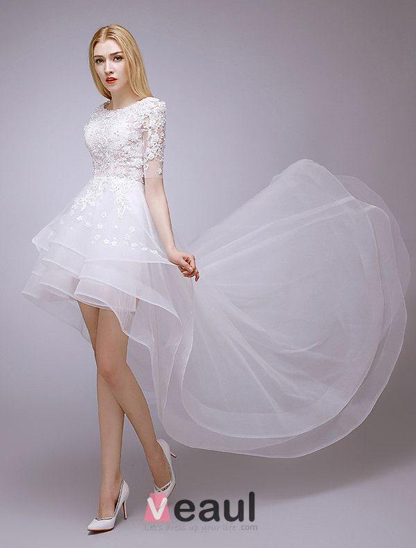 2015 A-linie Quadratischen Ausschnitt Sicke & Spitze Sommer Asymmetrischen Kurz Brautkleider Hochzeitskleid