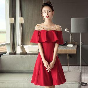 Stylowe / Modne Czerwone Przezroczyste Homecoming Sukienki Na Studniówke 2018 Princessa Wycięciem Kótkie Rękawy Frezowanie Krótkie Wzburzyć Bez Pleców Sukienki Wizytowe