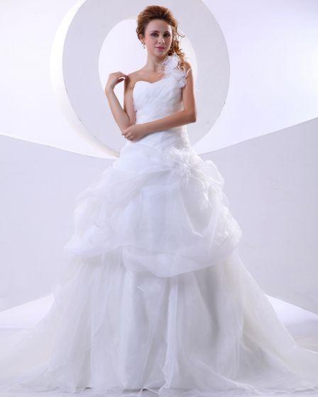 Organza Ein Schulter-rüsche-handblume Gericht Bridal Ballkleid Brautkleid