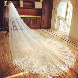 Mooie / Prachtige Witte Tule Royal Train Huwelijk Appliques 4 m Bruidssluier 2018