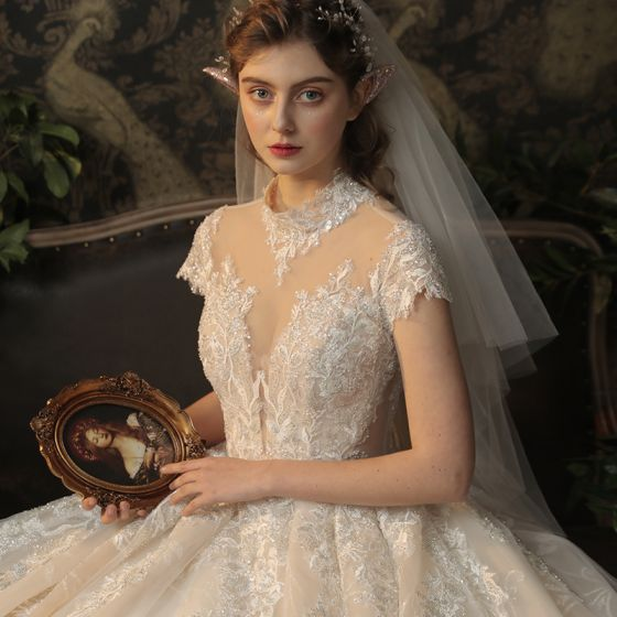 Vintage / Retro Champagne See-through Bridal Wedding Dresses 2020 Ball Gown High Neck Short Sleeve Backless Glitter Appliques Lace Beading Cathedral Train Ruffle