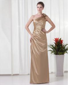 Elegant De La Ruche En Pente Fleur Decoration De Longueur De Plancher Charmeuse Robe De Demoiselle D'honneur
