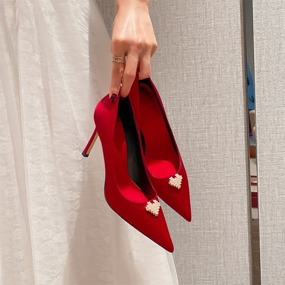 Style Chinois Rouge Perle Chaussure De Mariée 2021 Cuir 9 cm Talons Aiguilles À Bout Pointu Mariage Escarpins Talons Hauts