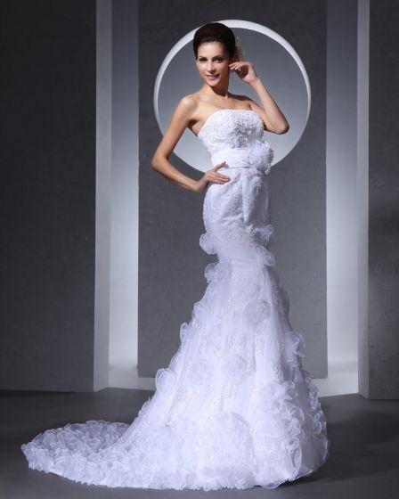 Elegant Tulle Ruffles Strapless Chapel Train Bridal Mermaid Wedding Dress