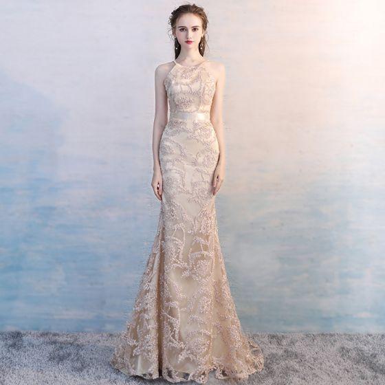Unique Champagner Hof-Schleppe Abendkleider 2018 Mermaid Stehkragen Charmeuse Gestreift Abend Festliche Kleider