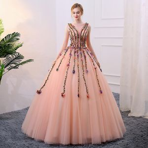 Flower Fairy Pearl Pink Prom Dresses 2018 Ball Gown Appliques Pearl V-Neck Backless Sleeveless Floor-Length / Long Formal Dresses