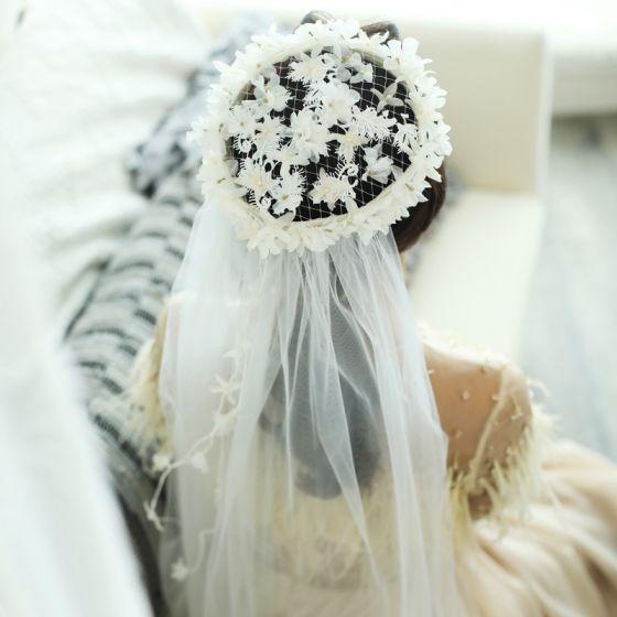 Blumenfee Weiß Ohrringe Kopfschmuck 2019 Tülle Perlenstickerei Blumen Perle Hochzeit Ball Brautaccessoires