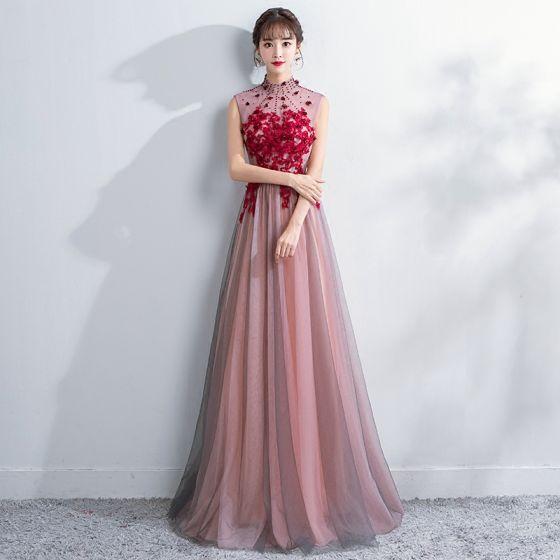 Estilo Chino Rosa Clara Vestidos de noche 2018 A-Line / Princess Crystal Con Encaje Flor Apliques Cuello Alto Sin Espalda Transparentes Sin Mangas Largos Vestidos Formales