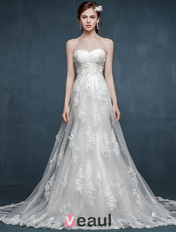 Romantic Lace Wedding Dress White Strapless Bridal Gown With Double Trailing
