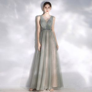 Moderne / Mode Gris Robe De Soirée 2020 Princesse Encolure Dégagée Étoile Paillettes Dos Nu Cristal Sans Manches Longue Robe De Ceremonie