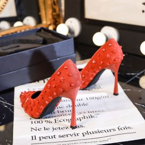 Chic / Beautiful Red Evening Party Pumps 2020 Star Rivet 10 cm Stiletto Heels Pointed Toe Pumps