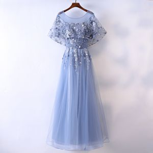 Chic / Beautiful Ocean Blue Evening Dresses  2017 A-Line / Princess Beading Pearl Lace Flower Scoop Neck Backless Short Sleeve Ankle Length Evening Party