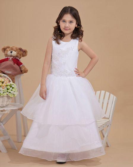 Satin Tulle Bead Embellishment Flower Girl Dresses