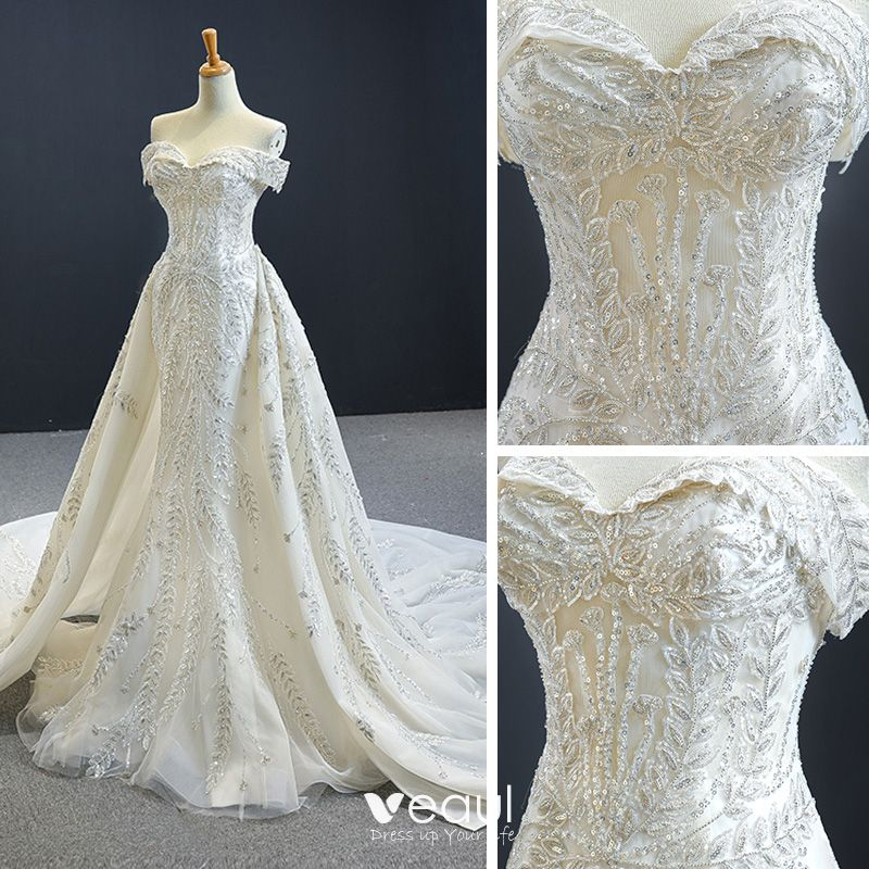 Luxury Gorgeous Ivory Bridal Wedding Dresses 2020 Trumpet Mermaid Off The Shoulder Short Sleeve Backless Sequins,Nice Dresses For Traditional Wedding
