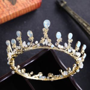 Modest / Simple Gold Tiara 2018 Metal Rhinestone Crystal Wedding Accessories