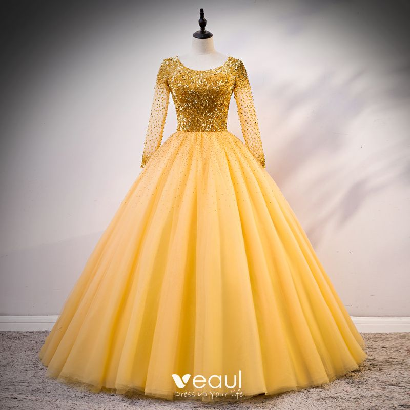 Luxury / Gorgeous Gold Prom Dresses 2020 Ball Gown Scoop Neck Long Sleeve  Sequins Beading Rhinestone Floor,Length / Long Ruffle Backless Formal