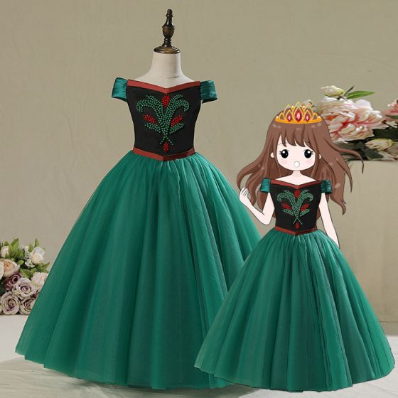 Frozen Costume Dark Green Birthday Flower Girl Dresses 2020 Ball Gown Off-The-Shoulder Short Sleeve Backless Sash Beading Floor-Length / Long Ruffle