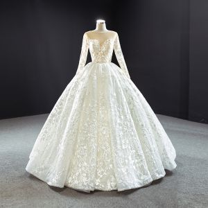 Best Ivory Outdoor / Garden Wedding Dresses 2020 Ball Gown See-through Scoop Neck Long Sleeve Backless Appliques Lace Floor-Length / Long Ruffle