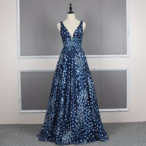 Chic / Beautiful Navy Blue Prom Dresses 2020 A-Line / Princess Deep V-Neck Sleeveless Rhinestone Sequins Glitter Tulle Floor-Length / Long Backless Formal Dresses