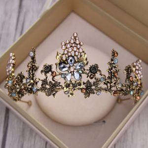 Vintage / Originale Baroque Noire Doré Tiare 2018 Métal Perle Faux Diamant Accessorize