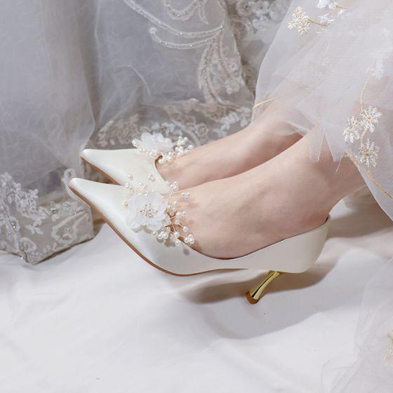 Romantique Ivoire Satin Chaussure De Mariée 2020 Cuir Perle Fleur 7 cm Talons Aiguilles À Bout Pointu Mariage Escarpins