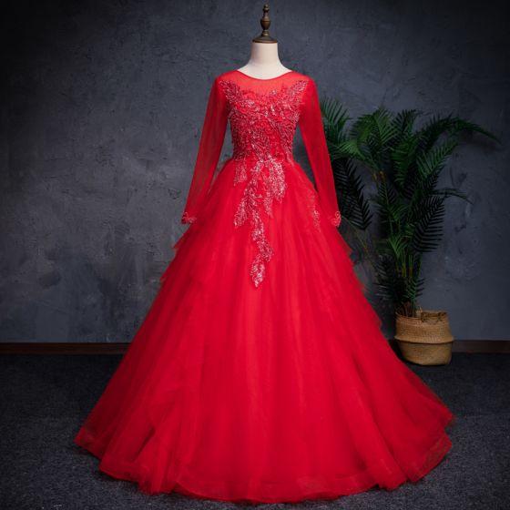Kinesisk Stil Rød Gallakjoler 2019 Prinsesse Gennemsigtig Scoop Neck Langærmet Beading Pailletter Lange Cascading Flæser Kjoler