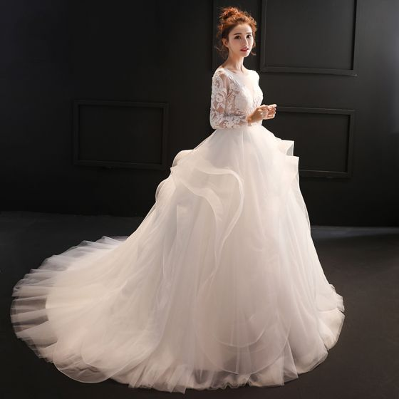 Chic / Beautiful White Ball Gown Wedding Dresses 2017 Scoop Neck Long Sleeve Backless Appliques Lace Ruffle Sweep Train Organza