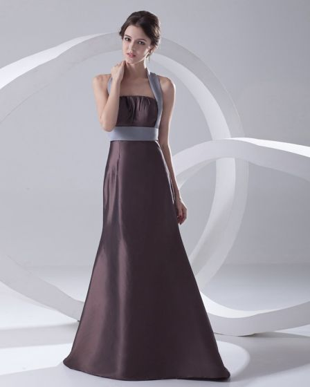 Fashion Satin Pleated Halter Sleeveless Floor Length Bridesmaid Dress